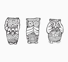 Hear, See, Speak No Evil Owl by kk3lsyy