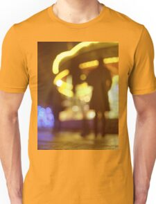 People walking in street at night with fairground lights in Hasselblad vintage camera analogue film photo Unisex T-Shirt