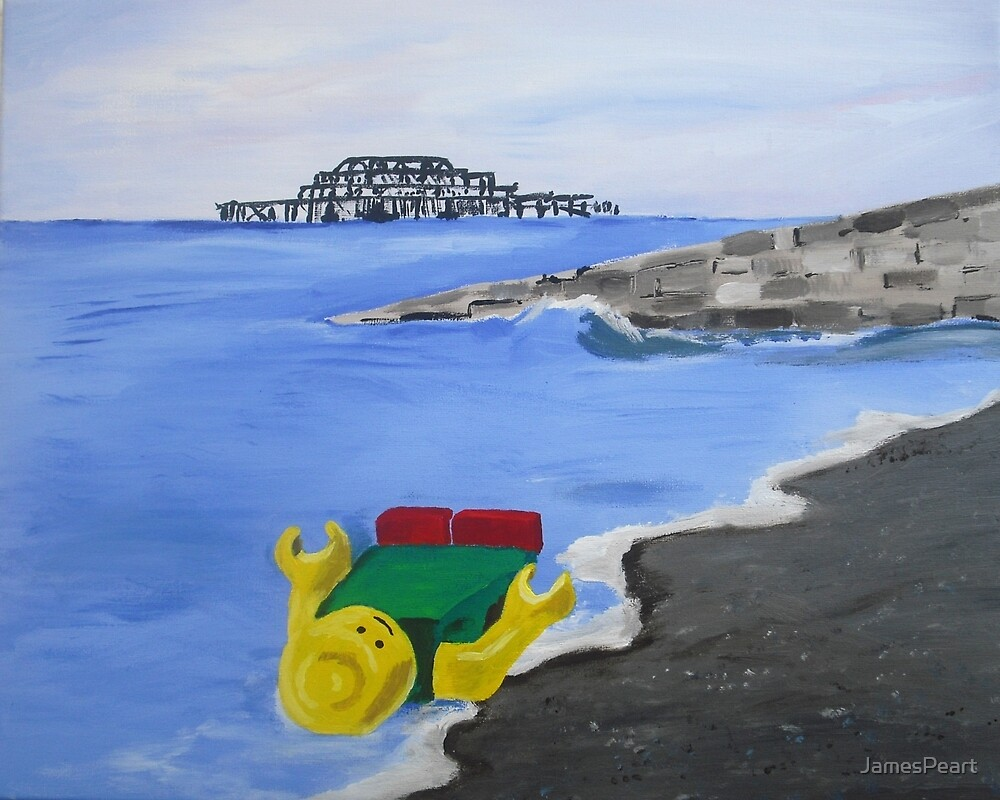 Lego English Seaside Beach Childrens Art Blue Yellow Color Scheme Contemporary Acrylic Painting by JamesPeart