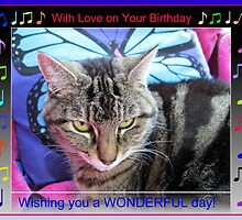 Funky Feline Birthday Card with Music Notes by BlueMoonRose