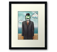 Magritte Parody Video Game Son of Man 1UP Framed Print