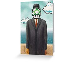Magritte Parody Video Game Son of Man 1UP Greeting Card