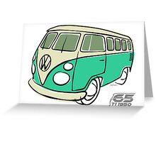 VW Type 2 bus green Greeting Card