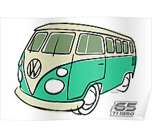 VW Type 2 bus green Poster