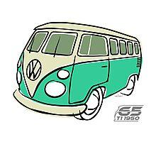 VW Type 2 bus green Photographic Print