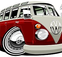 VW split-screen bus caricature by car2oonz