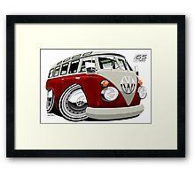 VW split-screen bus caricature Framed Print