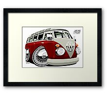 VW split-screen bus caricature Framed Print