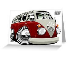 VW split-screen bus caricature Greeting Card