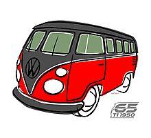 VW Type 2 bus red/black Photographic Print