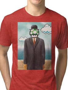 Magritte Parody Video Game Son of Man 1UP Tri-blend T-Shirt