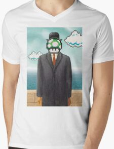Magritte Parody Video Game Son of Man 1UP Mens V-Neck T-Shirt