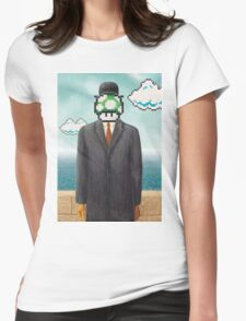Magritte Parody Video Game Son of Man 1UP Womens Fitted T-Shirt
