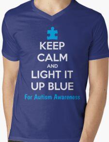 Keep Calm And Light It Up Blue For Autism Awareness Mens V-Neck T-Shirt