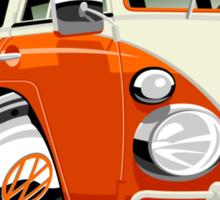 VW Type 2 bus orange caricature Sticker
