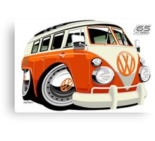 VW Type 2 bus orange caricature Canvas Print