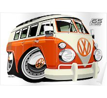 VW Type 2 bus orange caricature Poster