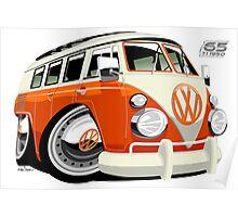 VW Type 2 bus orange caricature Poster