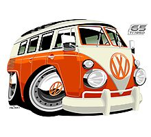 VW Type 2 bus orange caricature Photographic Print