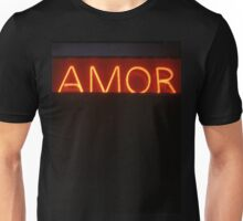 Neon light sign Amor love in Spanish on black medium format film analogue photo Unisex T-Shirt