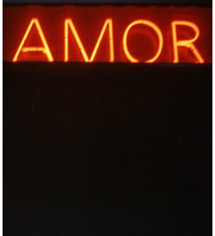 Neon light sign Amor love in Spanish on black medium format film analogue photo Sticker