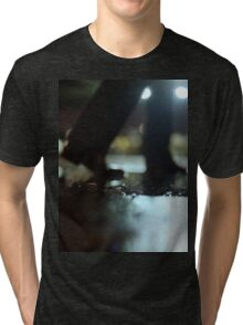 Man walking at night with urban city lights artistic color medium format square negative analog film photo Tri-blend T-Shirt