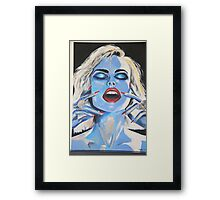 Blue woman Eyes closed Framed Print