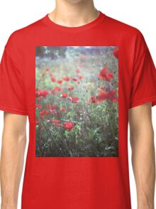 Red wild poppy flowers on green Hasselblad square medium format film analogue photograph Classic T-Shirt
