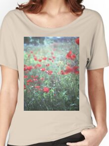 Red wild poppy flowers on green Hasselblad square medium format film analogue photograph Women's Relaxed Fit T-Shirt