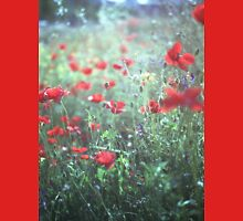 Red wild poppy flowers on green Hasselblad square medium format film analogue photograph Unisex T-Shirt
