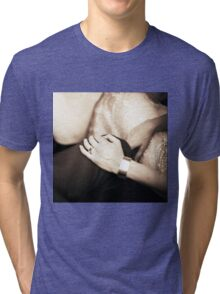 Bride and groom holding hands in wedding marriage party silver gelatin black and white 35mm negative analog film sepia photo  Tri-blend T-Shirt