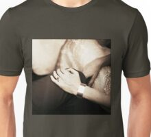 Bride and groom holding hands in wedding marriage party silver gelatin black and white 35mm negative analog film sepia photo  Unisex T-Shirt