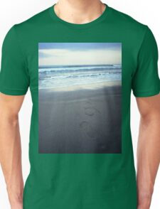 Foot prints at dawn on empty sandy beach sea side Hasselblad square medium format film analogue photograph Unisex T-Shirt