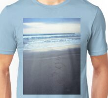 Foot prints at dawn on empty sandy beach sea side Hasselblad square medium format film analogue photograph Unisex T-Shirt