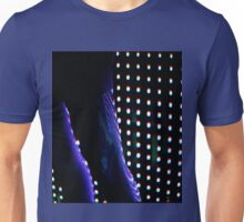 Futuristic shop dummy mannequin at night in led light effect analogue film photograph Unisex T-Shirt