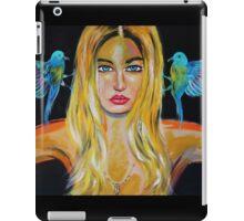 Blonde girl with 2 birds iPad Case/Skin