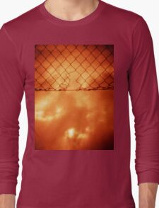 Wire mesh fence against stormy sky silver gelatin black and white medium format 120 6x6 negative analog film photo in sepia tones Long Sleeve T-Shirt