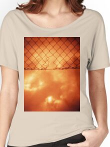 Wire mesh fence against stormy sky silver gelatin black and white medium format 120 6x6 negative analog film photo in sepia tones Women's Relaxed Fit T-Shirt