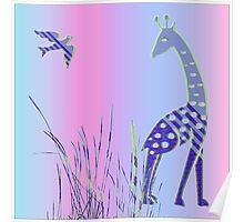 Giraffe and Bird Poster