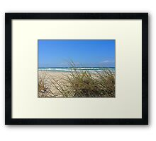 Ocean outlook through the sandy reeds Framed Print