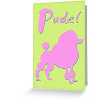 pink poodle - dog Greeting Card