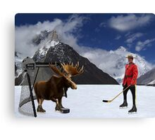 NOW THATS REAL CANADIAN HOCKEY...STARRING MOOSE AS GOALIE...R.C.M.P. MOUNTIE (POLICE) PICTURE AND OR CARD,PRINTS ECT. Canvas Print