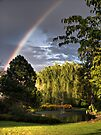 Rainbow Behind The Water Pond by Aaron Campbell