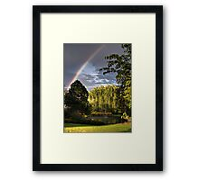 Rainbow Behind The Water Pond Framed Print