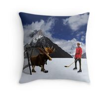NOW THATS REAL CANADIAN HOCKEY...STARRING MOOSE AS GOALIE ...R.C.M.P...PILLOW AND OR TOTE BAG Throw Pillow