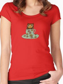 Owl in a teacup Women's Fitted Scoop T-Shirt