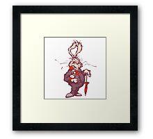 White rabbit with clock Framed Print