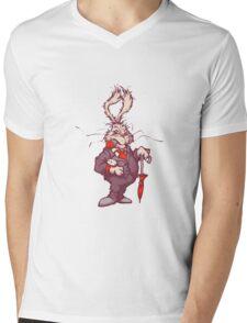 White rabbit with clock Mens V-Neck T-Shirt