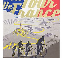 Le Tour de France retro poster by SFDesignstudio