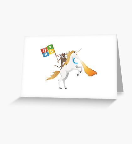 Ninja Cat Unicorn Full Flag Cortana Greeting Card